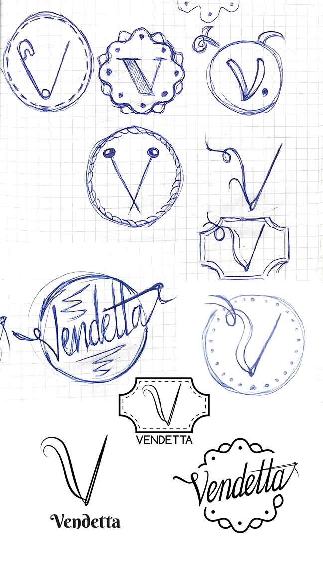 Vendetta - Sketching and brainstorming process.