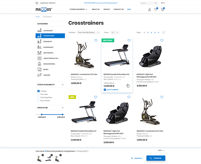 Maxxus Product Listing page