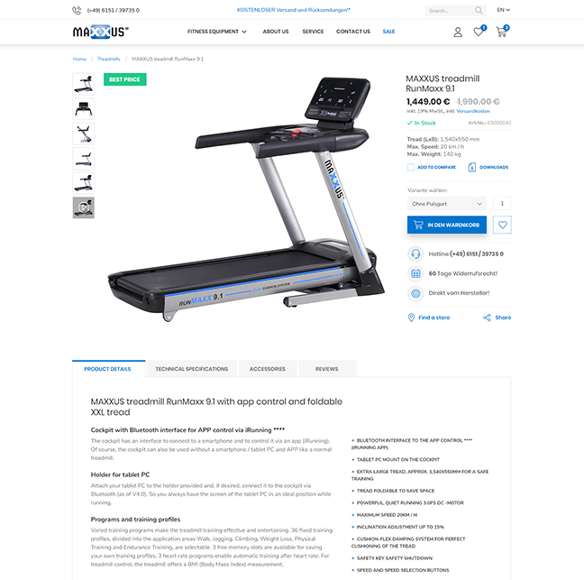Maxxus - Product details page