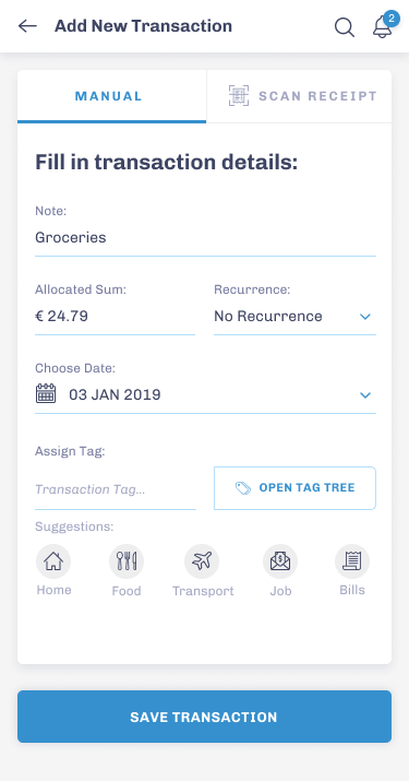 BP - Add transaction Screen
