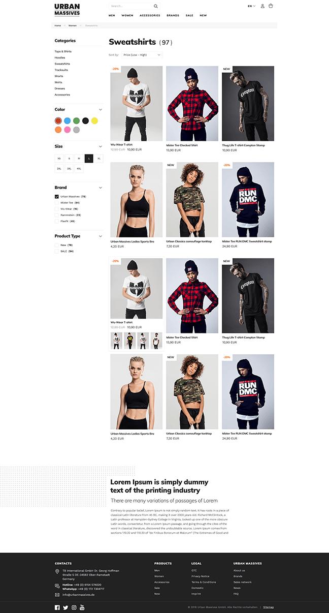 Urban Massives - product listing